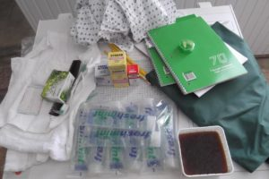 Средства гигиены, переданные жителям Авлеви, включая техническое мыло